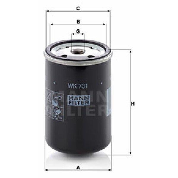 kraftstofffilter wk 731 mann filter g nstig online kaufen. Black Bedroom Furniture Sets. Home Design Ideas