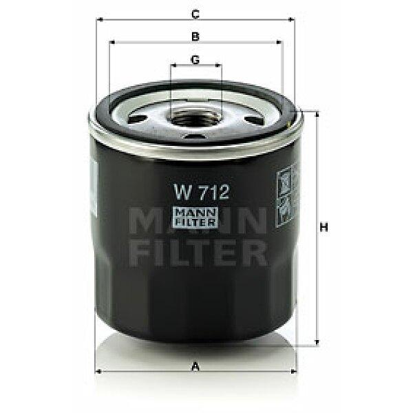 lfilter w 712 mann filter jetzt g nstig online kaufen. Black Bedroom Furniture Sets. Home Design Ideas