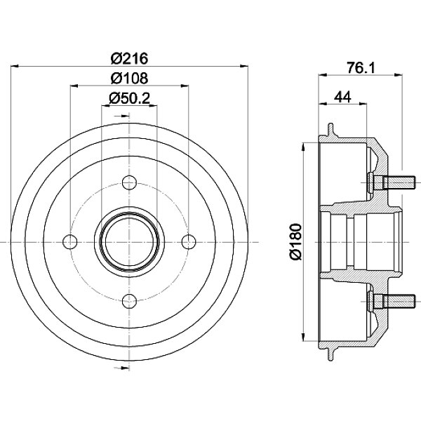 Bremstrommel - 8DT 355 301-331 HELLA