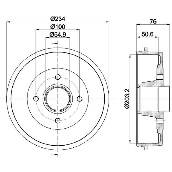 Bremstrommel - 8DT 355 300-641 HELLA